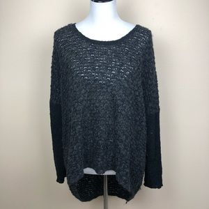 Eileen Fisher dark gray nubby high low sweater